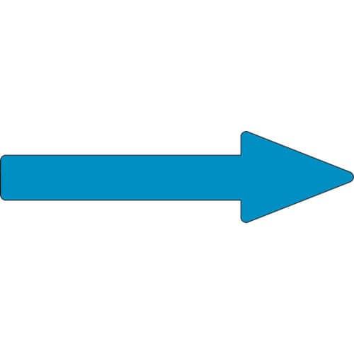 緑十字 配管方向表示ステッカー →青矢印 55×200mm 10枚組 アルミ_
