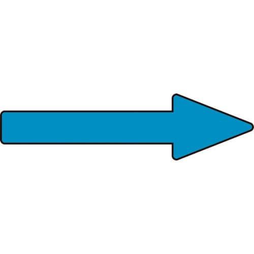 緑十字 配管方向表示ステッカー →青矢印 20×70mm 10枚組 アルミ_
