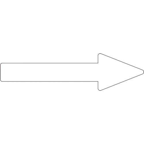 緑十字 配管方向表示ステッカー →白矢印 55×200mm 10枚組 エンビ_