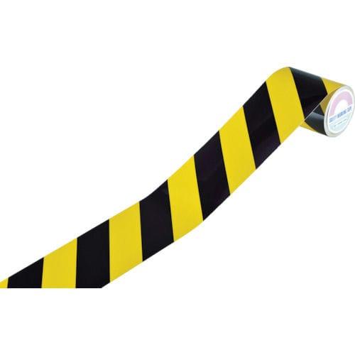 緑十字 反射トラテープ(ラインテープ) 黄/黒 90mm幅×10m 屋内用_