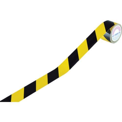 緑十字 反射トラテープ(ラインテープ) 黄/黒 45mm幅×10m 屋内用_