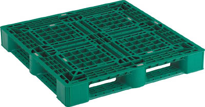 TRUSCO 樹脂パレット 片面4方差 1100X1100 緑_