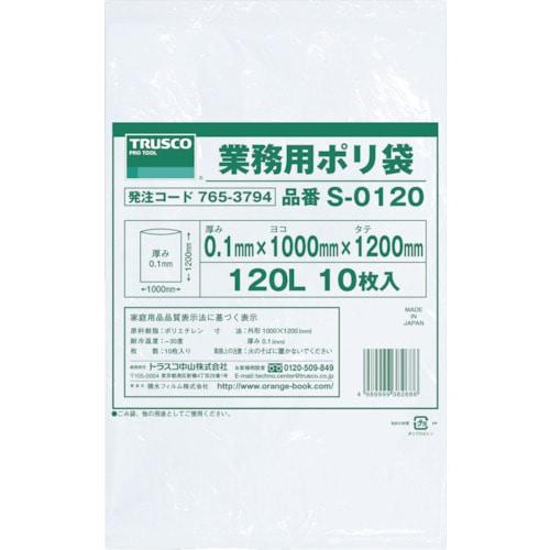TRUSCO 業務用ポリ袋0.1×120L 10枚入_