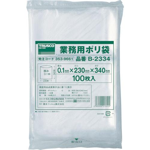 TRUSCO 厚手ポリ袋 縦340X横230Xt0.1  透明 (100枚入)_