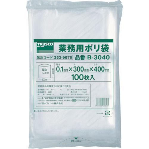 TRUSCO 厚手ポリ袋 縦400X横300Xt0.1  透明 (100枚入)_