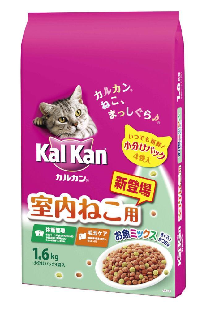 マースジャパン カルカンドライ 室内ねこ用 お魚ミックスまぐろとかつお味 1.6kg