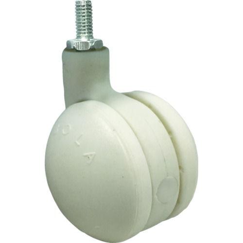 SAMSONG デザイン双輪キャスター「Bola」白 ネジ 自在 50mm _