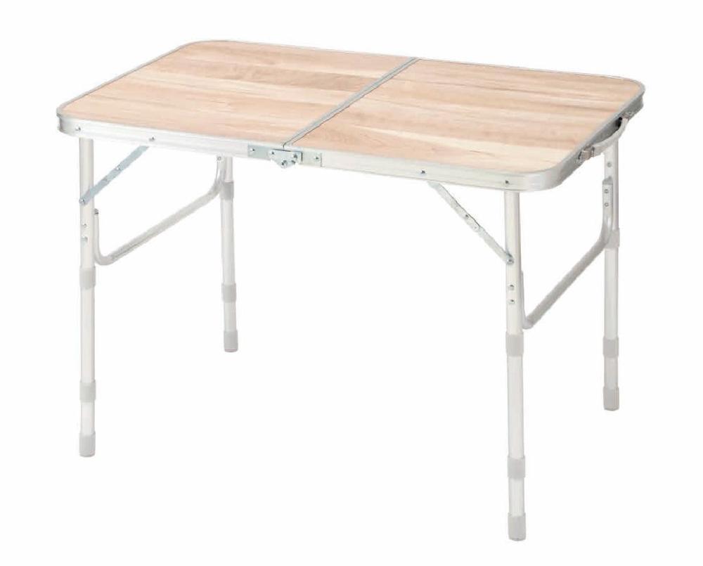 ナチュラルシーズン アルミテーブル木目 90×60cm