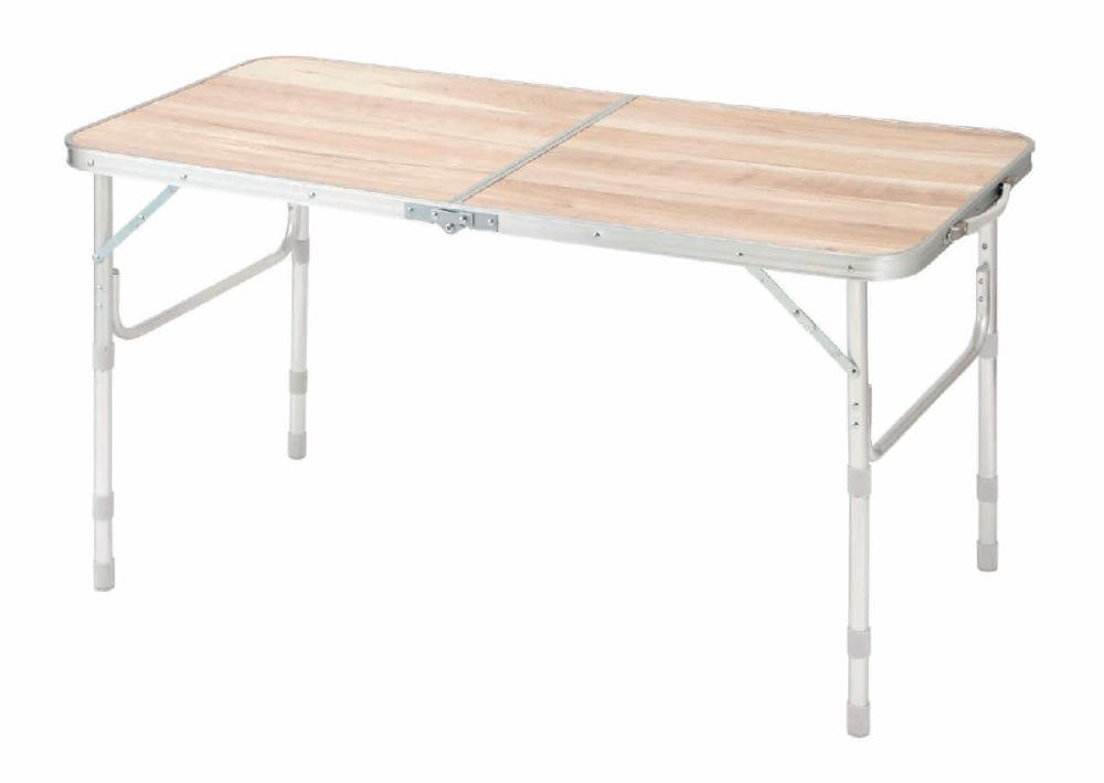 ナチュラルシーズン アルミテーブル 木目 120×60cm