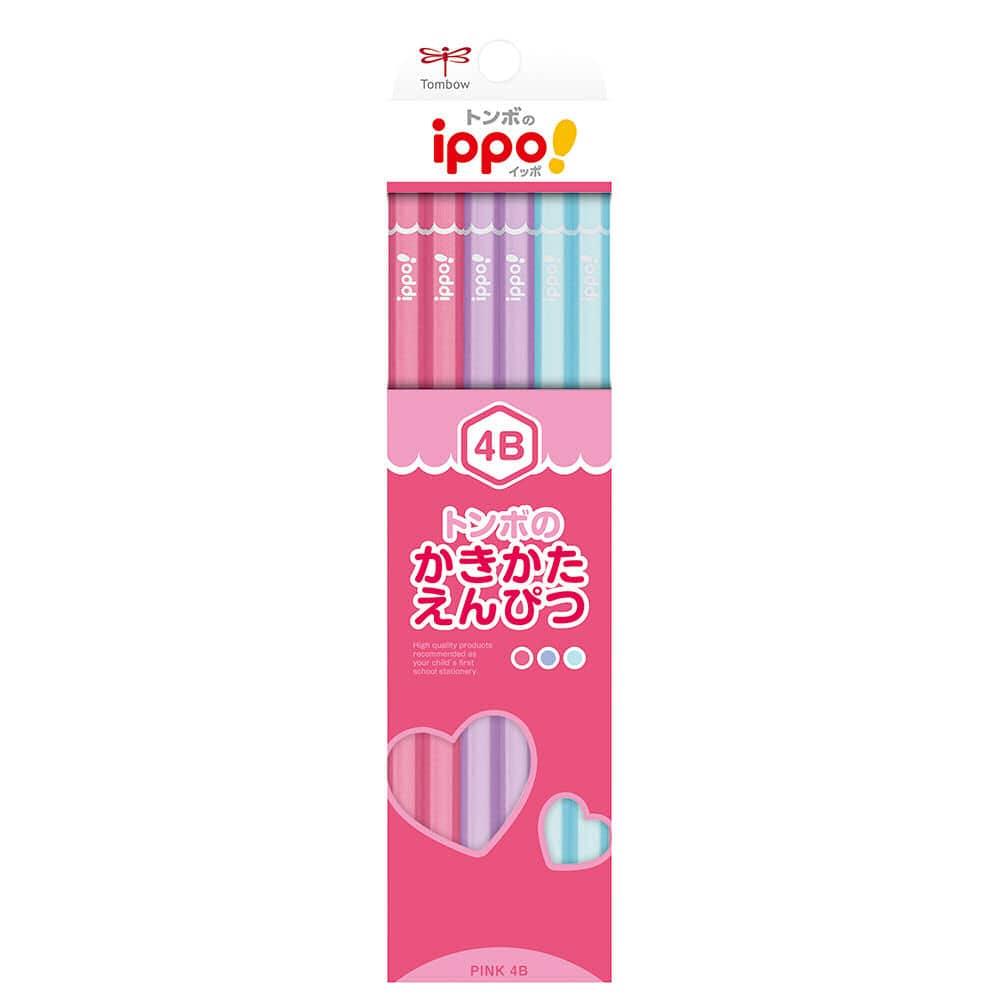 トンボ鉛筆 かきかた鉛筆 プレーン柄 4B 12本入り 各色