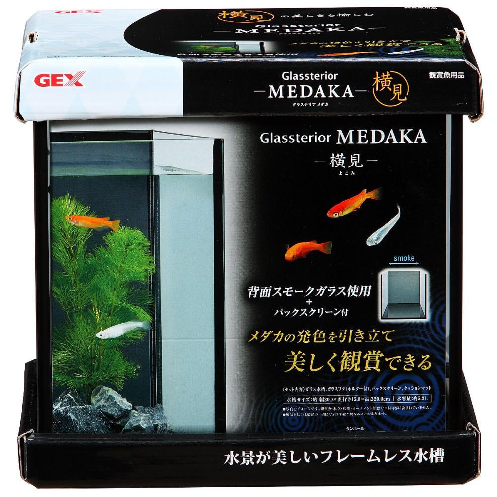 GEX フレームレス水槽 グラステリアメダカ 横見 20×15×20cm