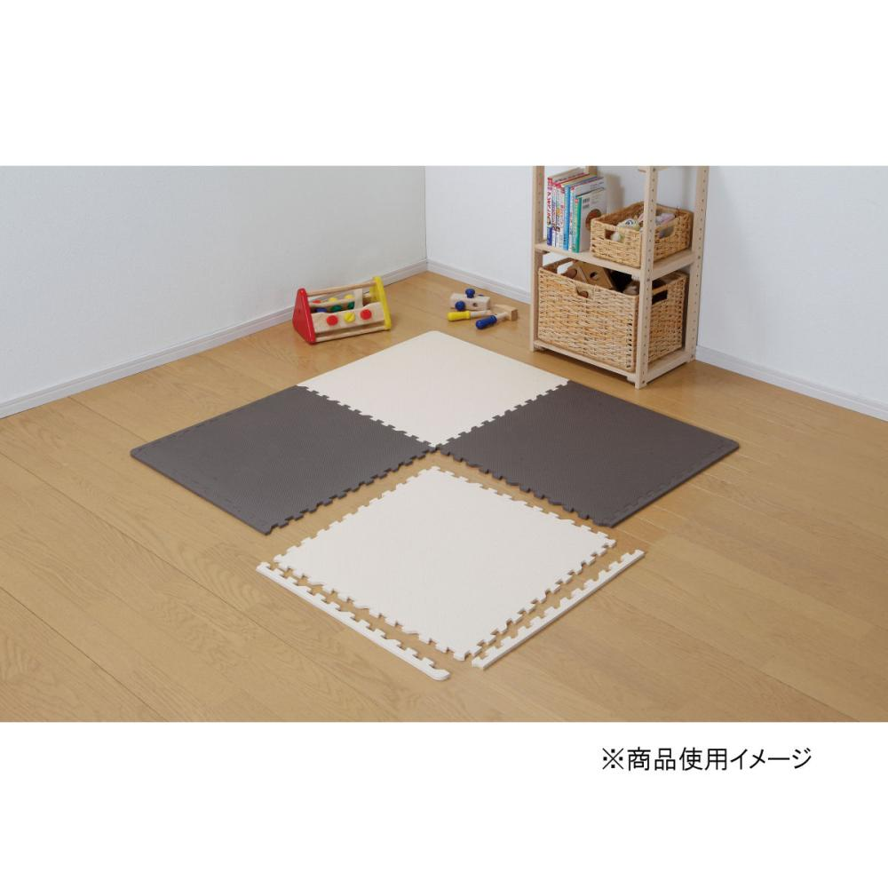 ジョイントマット 大判サイズ 4枚 縁付き ブラウン/アイボリー