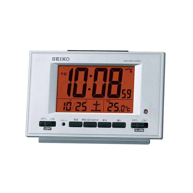 セイコー 自動点灯電波目覚し時計 SQ780S