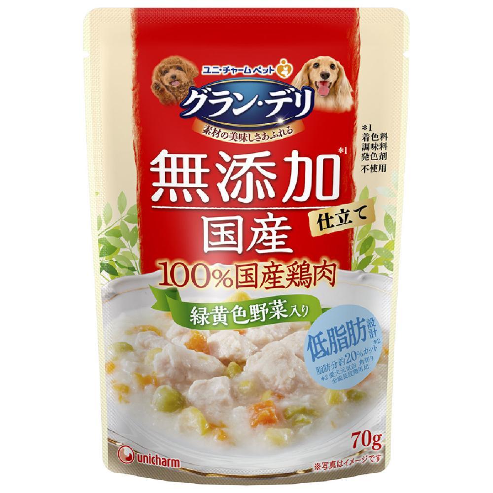 ユニ・チャーム グラン・デリ 無添加 国産鶏ささみ 緑黄色野菜入り 70g