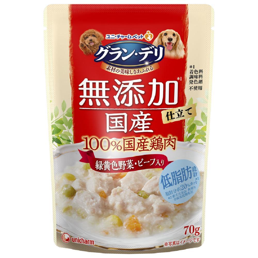 ユニ・チャーム グラン・デリ 無添加 国産鶏ささみ 緑黄色野菜・ビーフ入り 70g