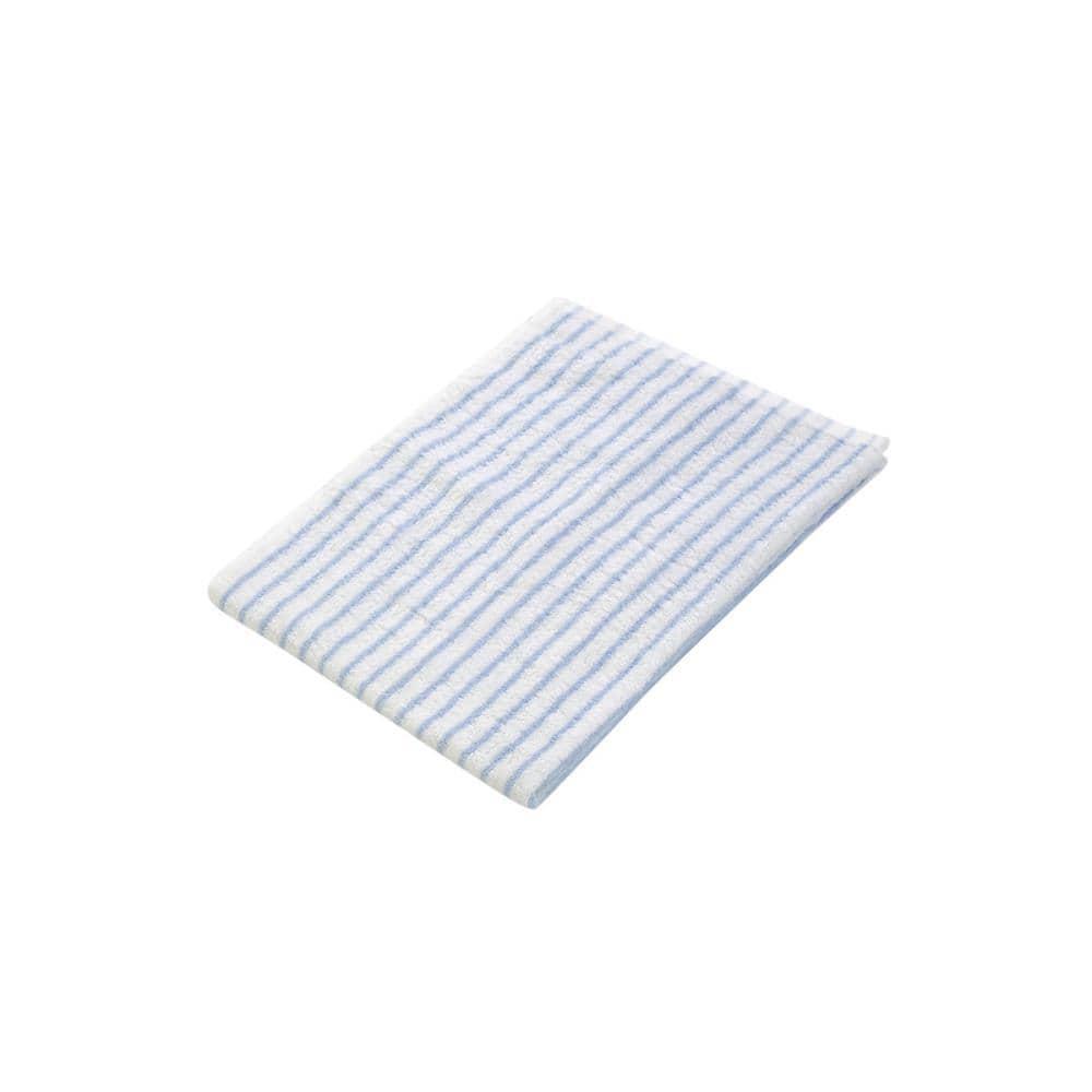 アテーナライフ バスタオル やわらかタオル ブルー/ホワイト 60×120cm