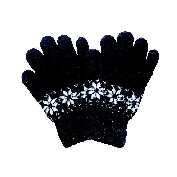 コメリ スマホ対応ニット手袋 雪柄 ブラック AW-IQ