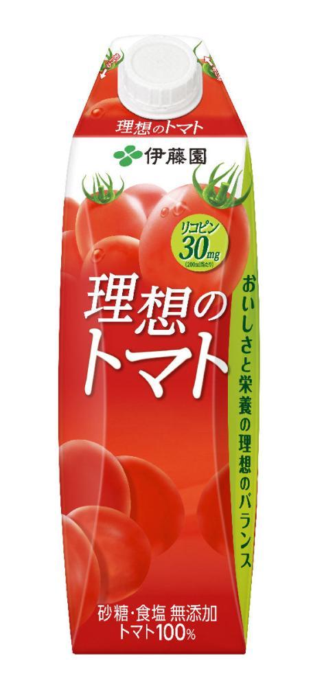 伊藤園 理想のトマト 屋根型キャップ付き紙パック 1L