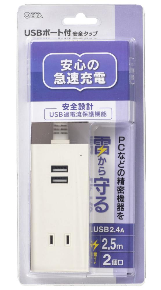 USBポート付 雷ガードタップ 2.5m 2個口