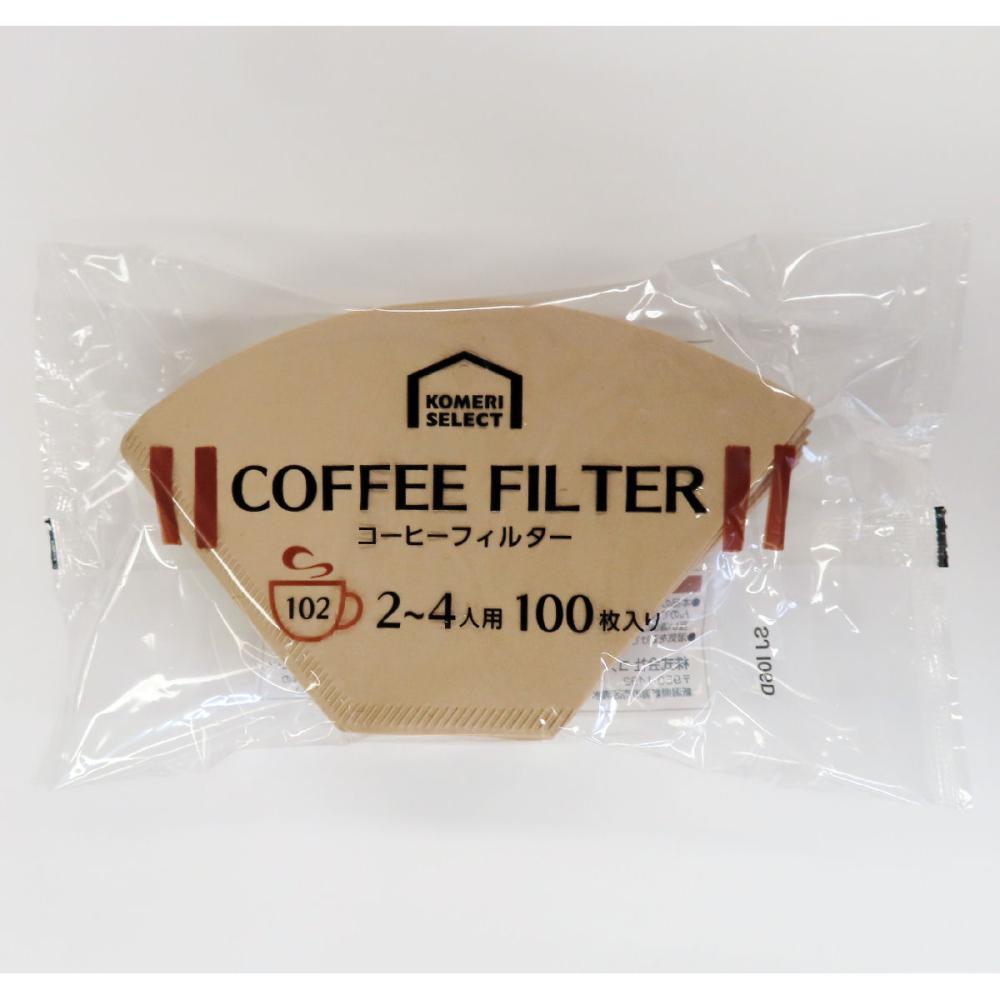 コメリセレクト コーヒーフィルター 無漂白 102 100枚