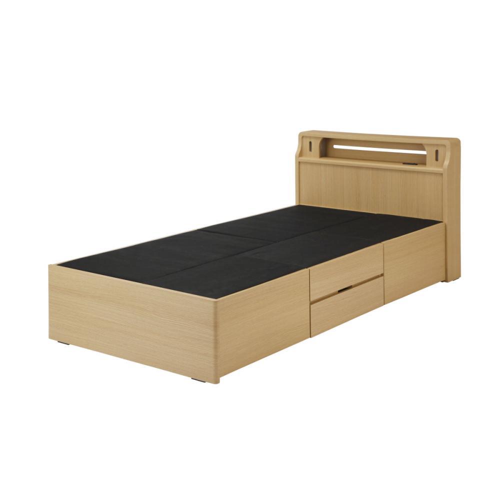 アテーナライフ 2段引き出し収納付き木製ベッド ジェミナイ ライト・コンセント付 シングル NP-TH-1993-D