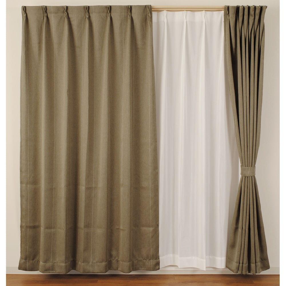 4枚組カーテン ストライプ 遮光性 遮像 ベージュ 各サイズ