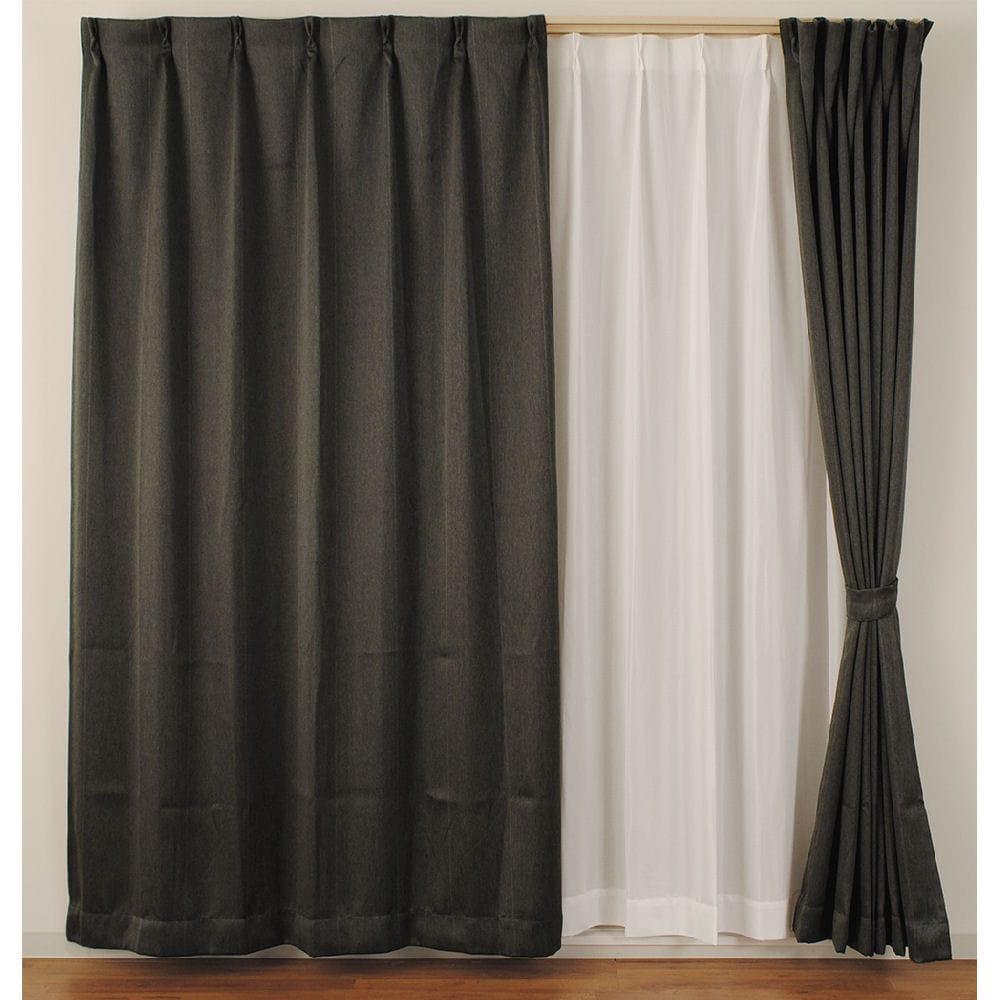 4枚組カーテン ストライプ 遮光性 遮像 ブラック 各サイズ