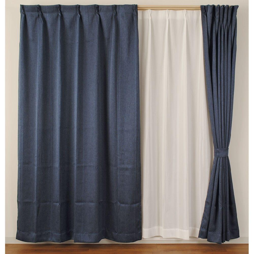 4枚組カーテン ストライプ 遮光性 遮像 ネイビー 各サイズ