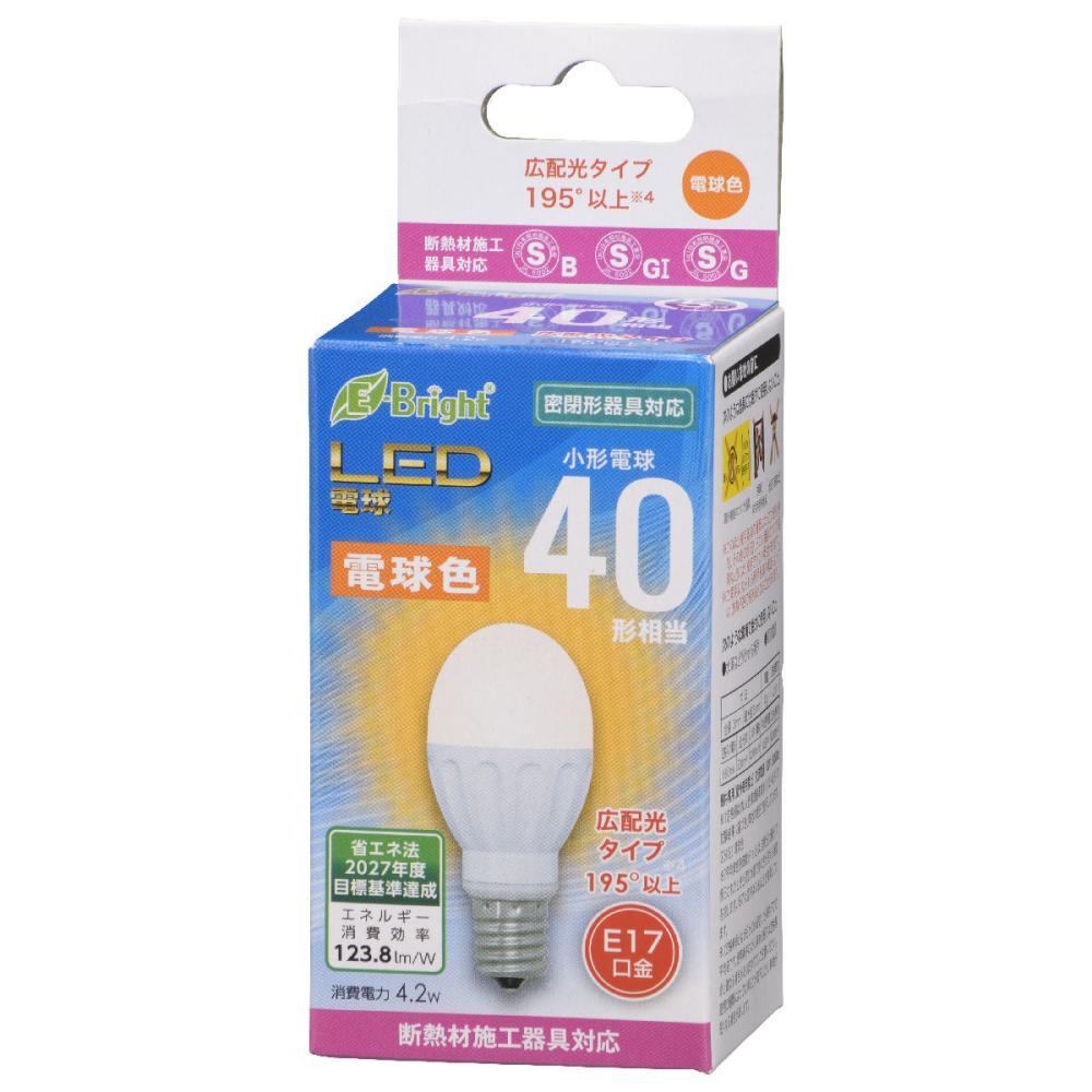 オーム電機 LED電球 小形 E17 40形相当 電球色 断熱材施工器具(SB・SGI・SG形表示器具)対応 LDA4L-G-E17 IH22