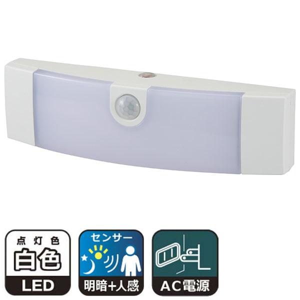 オーム電機 LEDナイトライト 明暗人感センサー式 ホワイト ALA6JF-WN