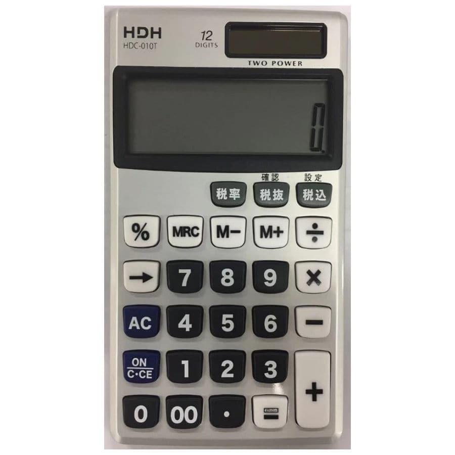 HDH 手帳サイズ電卓 12桁・税計算・早打ち機能 シルバー HDC-010T