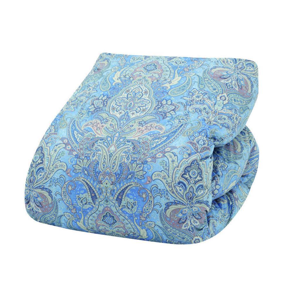アテーナライフ 羽毛掛布団 ホワイトダックダウン85% ブルー セミダブルロング 170×210cm