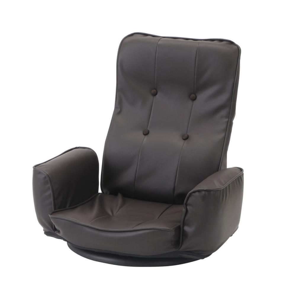 アテーナライフ レザー調 肘付き回転座椅子 ダークブラウン