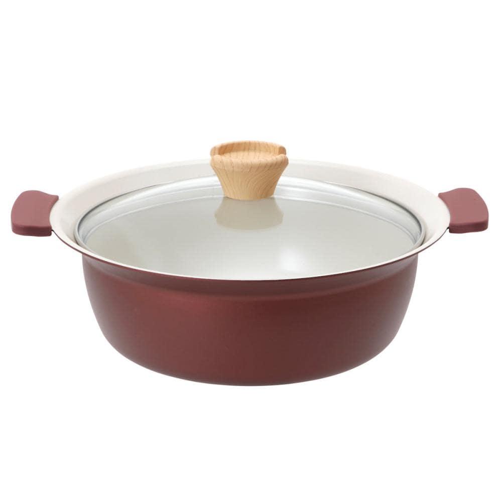 アテーナライフ 卓上鍋 ふきこぼれにくいセラミックコート卓上鍋 IH・ガス火兼用 24cm レッド
