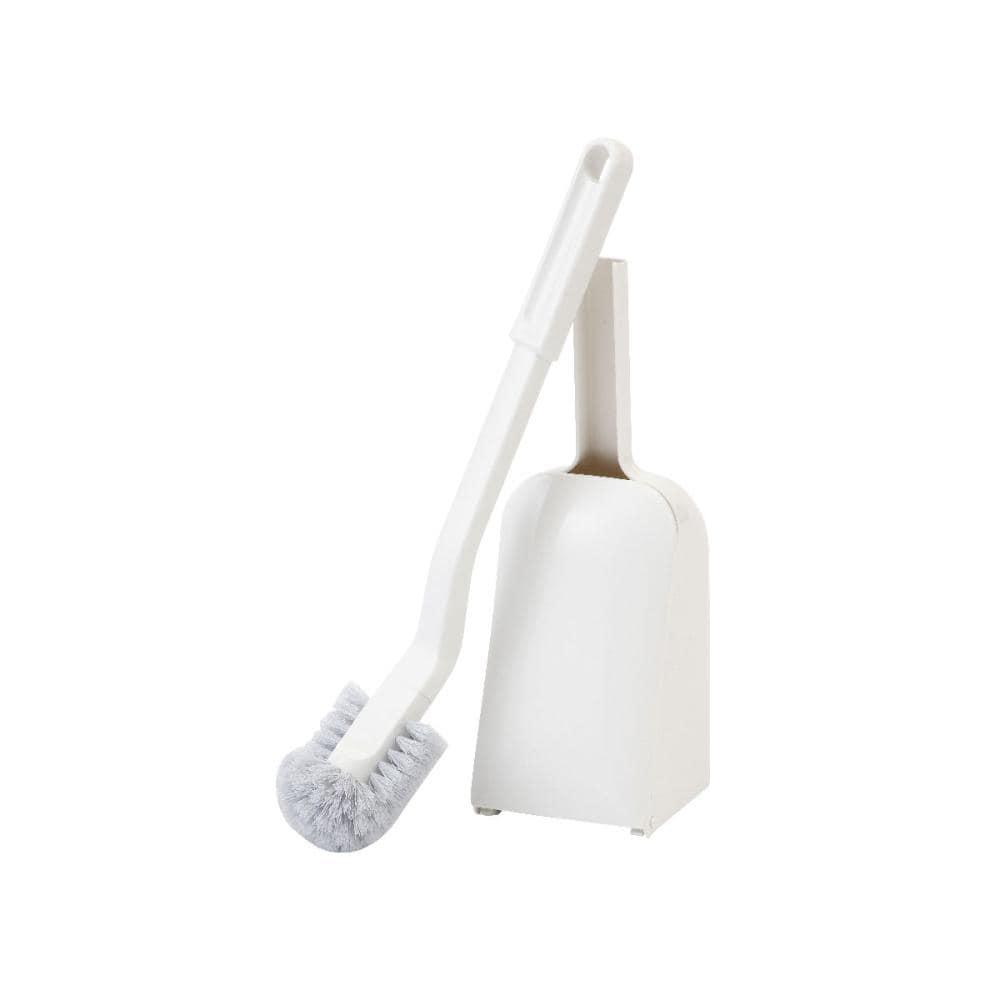 ふちウラが掃除しやすいトイレブラシ ケース付き ホワイト