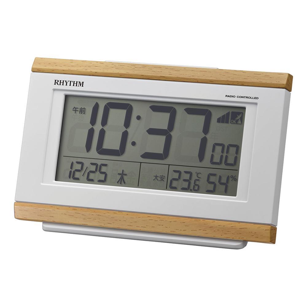 リズム フィットウェーブ電波置時計 薄茶木目仕上 8RZ161SR07