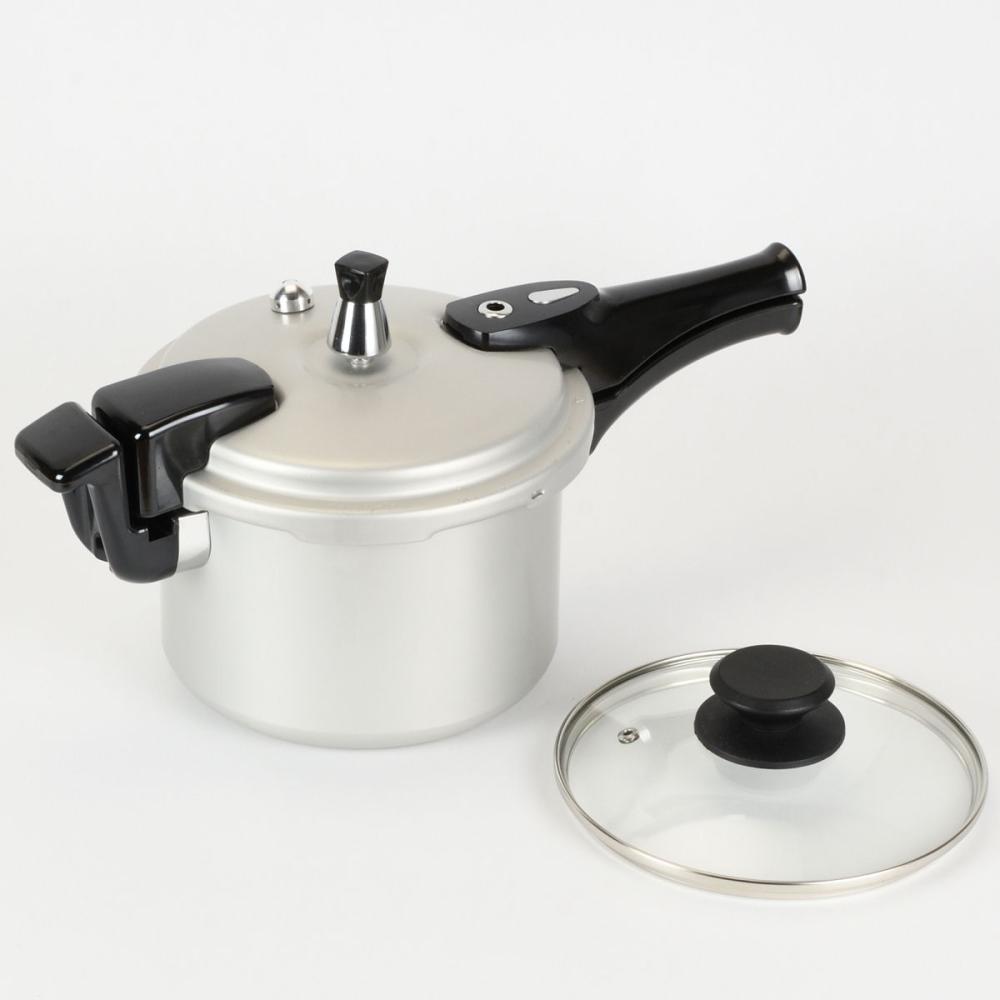 コメリ アルミ圧力鍋 IH対応 3L ガラス蓋付 HB-8474