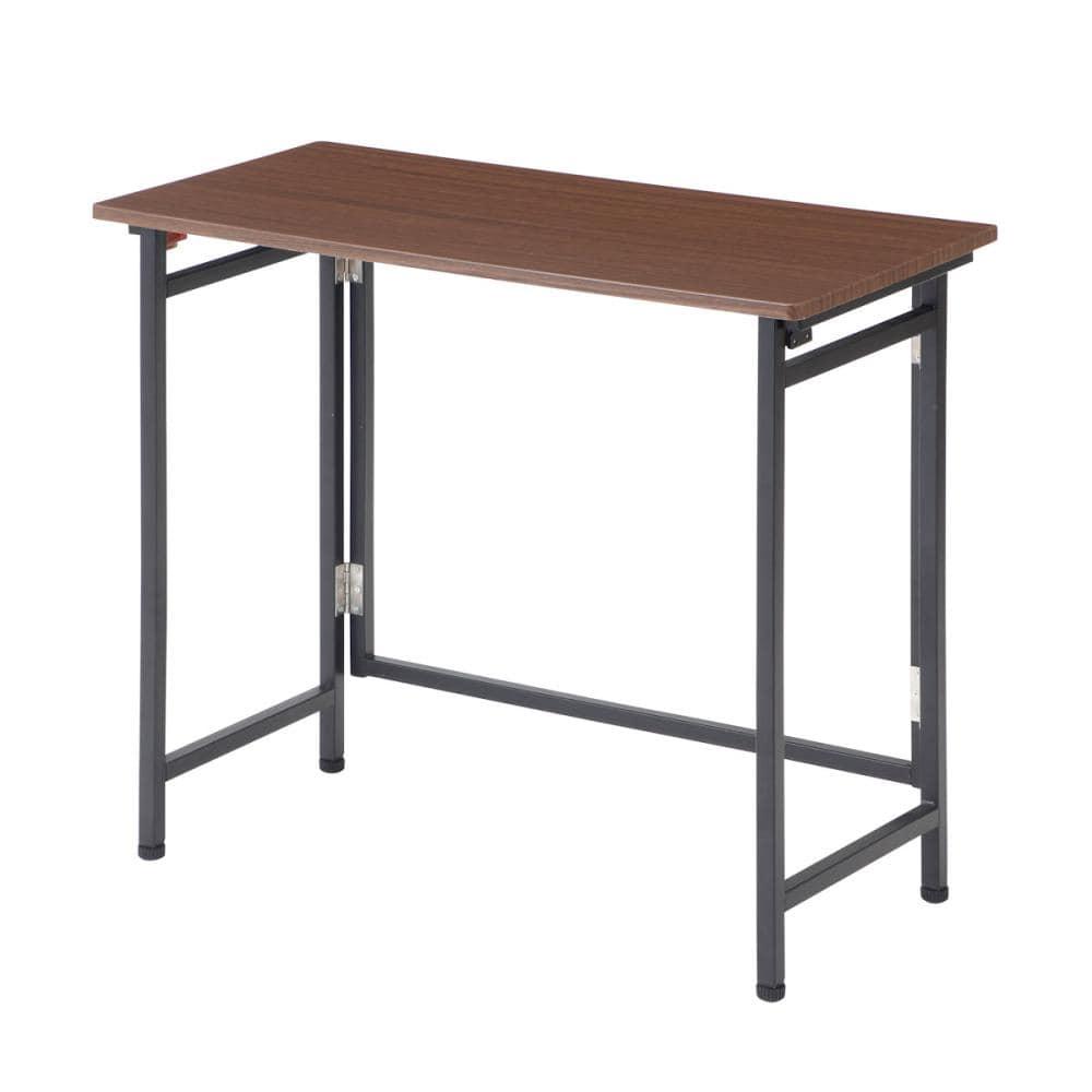 アテーナライフ パタパタしまえるテーブル ダークブラウン 幅80cm