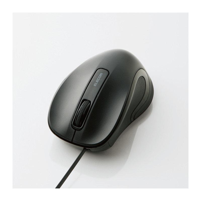 エレコム BlueLEDマウス 有線 巻き取り式3ボタン ブラック