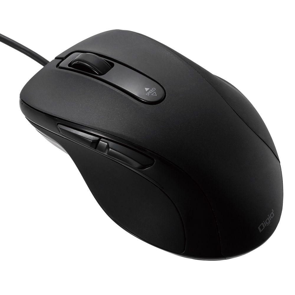 ナカバヤシ 有線静音5ボタンBlueLEDマウス ブラック MUS-UKF108BK