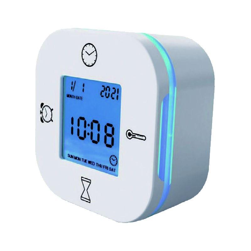 多機能デジタル置時計 ホワイト