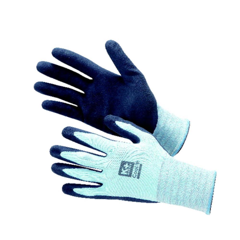 コメリ 冷感抗菌防臭ゴム背抜き手袋 サックス色 各種