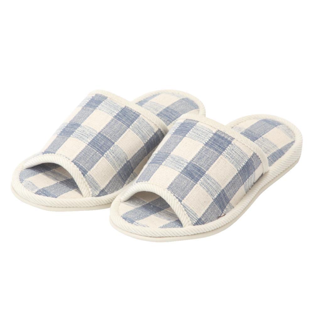 アテーナライフ インド綿スリッパ 格子柄外縫い ブルー L
