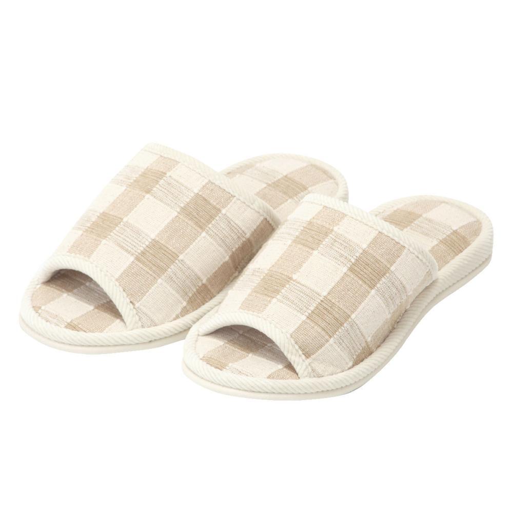 アテーナライフ インド綿スリッパ 格子柄外縫い ベージュ L