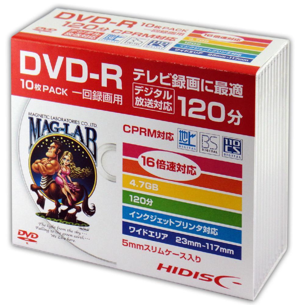 1回録画用 DVDーR 16倍速対応 10枚スリムケース入