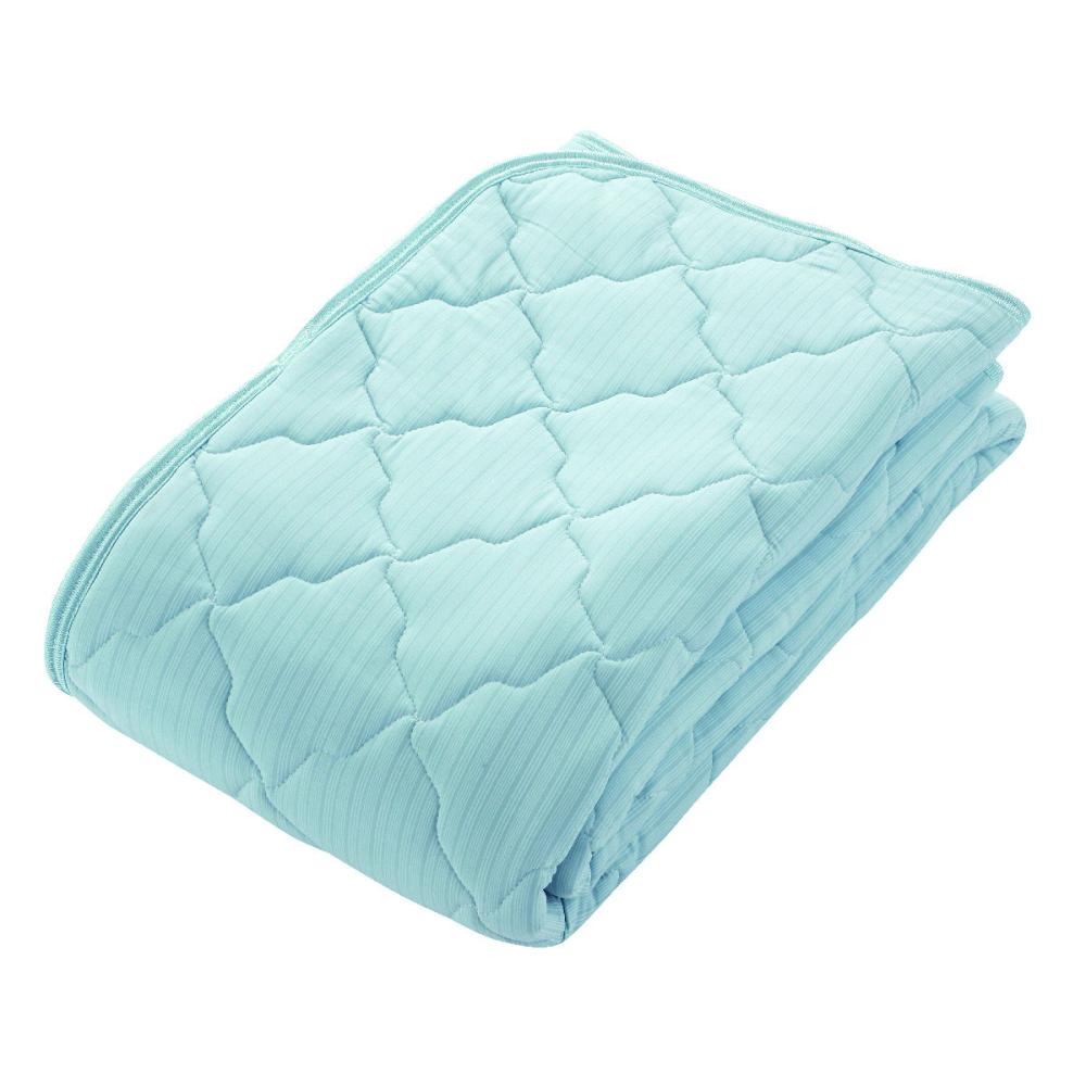 アテーナライフ 涼+シリーズ 強力冷感 ひんやり敷パッド 抗菌防臭 ブルー セミダブル