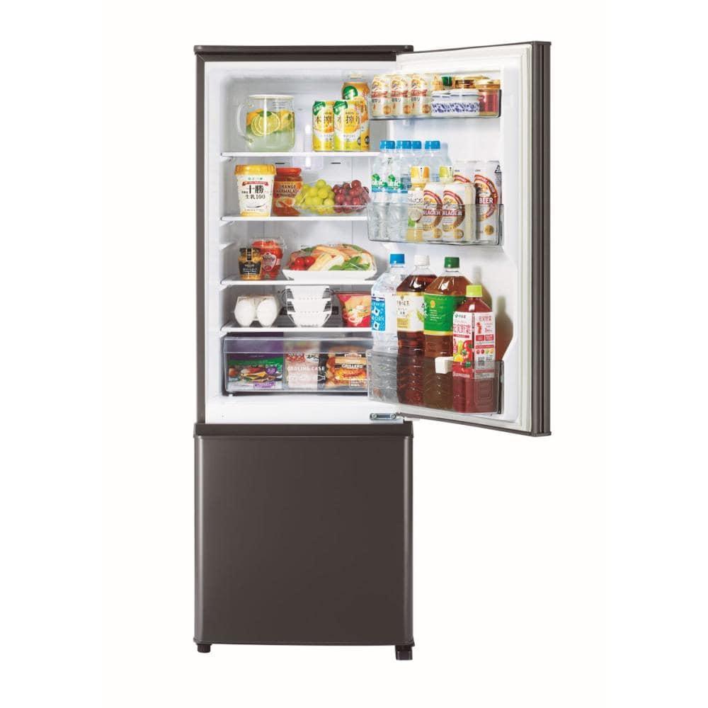 三菱電機 2ドア冷蔵庫 168L 右開きタイプ マットチャコール MR-P17F-H