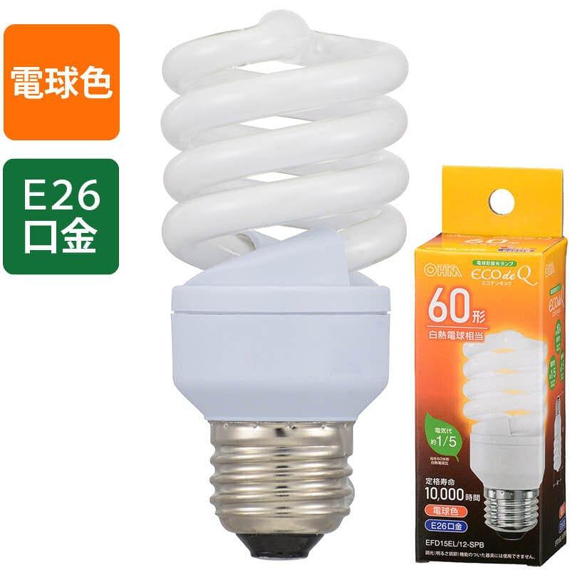 オーム電機 エコ電球 60W形電球色 EFD15EL/12-SPB