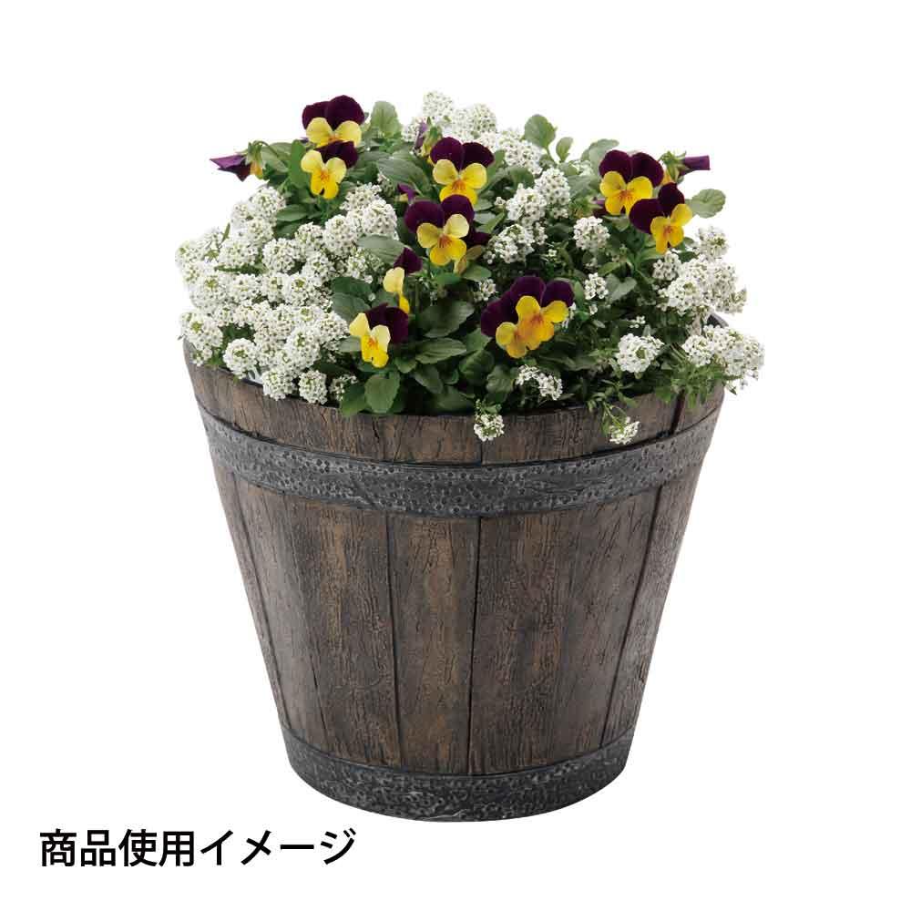 か~るい木樽風ポット ブラウン 直径32×H26cm