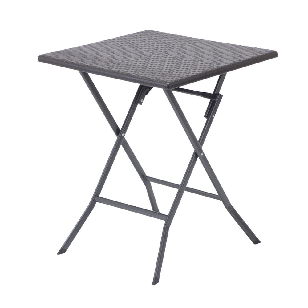 ラタン調 折り畳み ガーデンテーブル スクエア